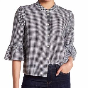 MADEWELL Black Gingham Bell Sleeve Top Size Small